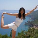 Hara teaches Hatha yoga
